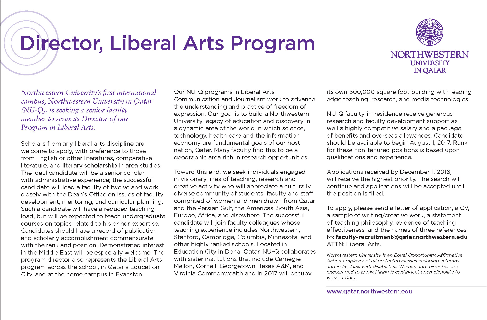 open positions northwestern university qatar association for che nu q dir liberal arts